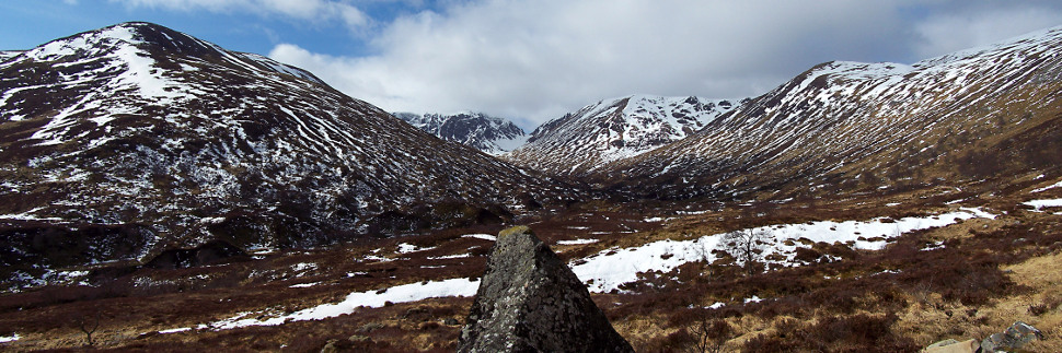 The first glimpse of Coire Ardair from the path