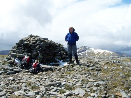 Linda at the summit of Tom a' Choinich